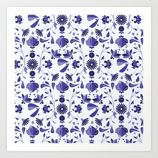 Blue Flower Bohoo Pattern Art Print