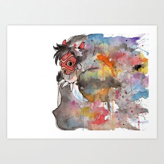 Rainbow Princess Mononoke Art Print