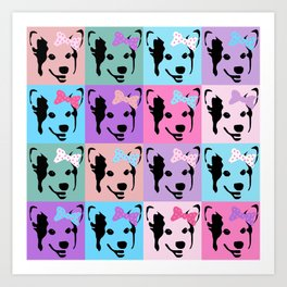 Corgi Pop - cute corgi with bow, dog, dogs, corgis, pop art, pink and purple, girls pop art Art Print