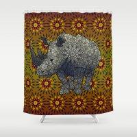 rhino Shower Curtains featuring Rhino by Dusty Goods