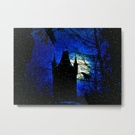 Snowy winter night at Raven castle Metal Print