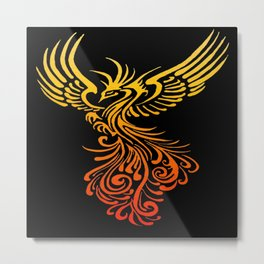 Rising From The Ashes Detailed Phoenix Flame Ombre Metal Print