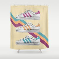 sneakers Shower Curtains featuring My old Sneakers by Crazy Cool Animals