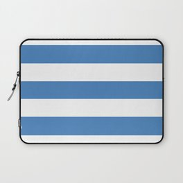 Cyan-blue azure - solid color - white stripes pattern Laptop Sleeve