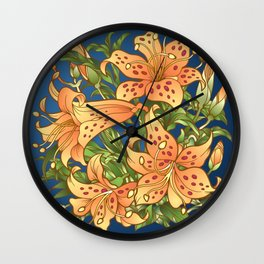 Tiger Lily Flowers Wall Clock