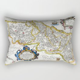Map of the Kingdom of Portugal by Abraham Ortelius, dated 1560 Rectangular Pillow
