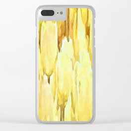 Pale Yellow Tulips Abstract Floral Pattern Clear iPhone Case