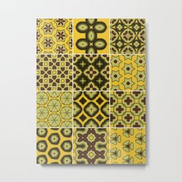 Yellow and Brown Floor Tile Metal Print