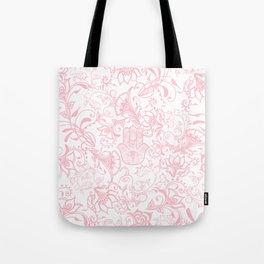 Pastel pink white henna hamsa Hand of Fatima floral mandala Tote Bag