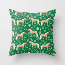 Palomino Horse Christmas - peppermint, candy cane, snowflake, christmas, green and red, santa Throw Pillow