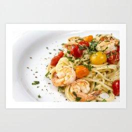 Spaghetti pasta with prawns Art Print