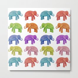 Colorful Parade of Elephants in Red, Orange, Yellow, Green, Blue, Purple and Pink Metal Print