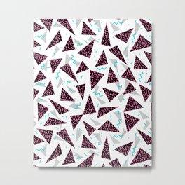 Trendy 80's style geometric triangle retro cool neon pattern art print affordable college dorm decor Metal Print