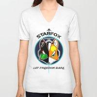 starfox V-neck T-shirts featuring Mercernary Unit: STAR FOX by RuiShi