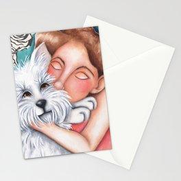Sweet Coconut Original Art Schnauzer and girl Portrait Stationery Cards