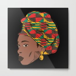 Black Woman with Head tie Metal Print