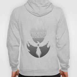 PHOENIX RISING grey with flames and star center Hoody