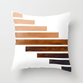 Raw Umber Minimalist Mid Century Modern Inca Watercolor Stripes Staggered Symmetrical Pattern Throw Pillow
