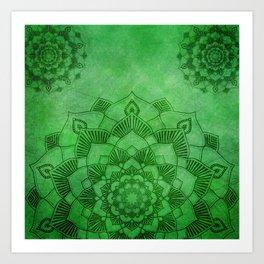Emerald Green Lotus Mandala Art Print