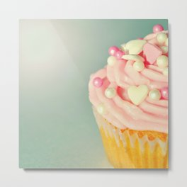Pink Cupcake with love hearts. Metal Print