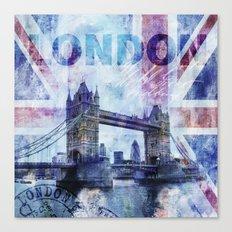 London Tower Bridge mixed media Art and Typography Canvas Print