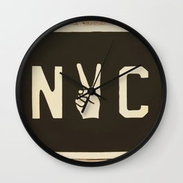 NYC Peace Sign (Color) Wall Clock