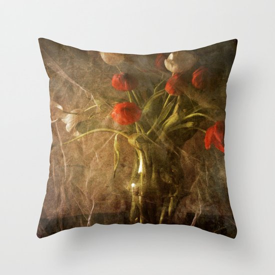 Vase with Tulips Throw Pillow