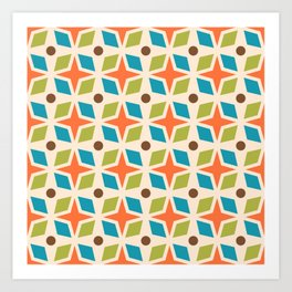 Mid Century Modern Abstract Star Dot Pattern 441 Orange Brown Turquoise Chartreuse Art Print