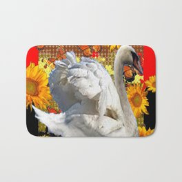 Abstracted Swan IN Red-Black Sunflowers Butterflies Bath Mat