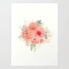 Pink Flower Bouquet Art Print