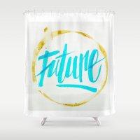 future Shower Curtains featuring Future by GabrieleCigna