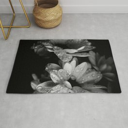 Flower and drops. Black and white. Rug
