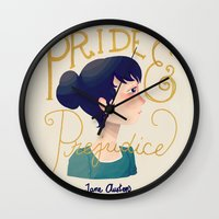 pride and prejudice Wall Clocks featuring Pride and Prejudice by Nan Lawson