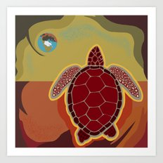 Red Turtle Art Print