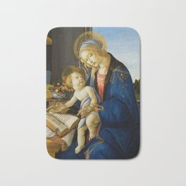 The Virgin and Child by Sandro Botticelli Bath Mat