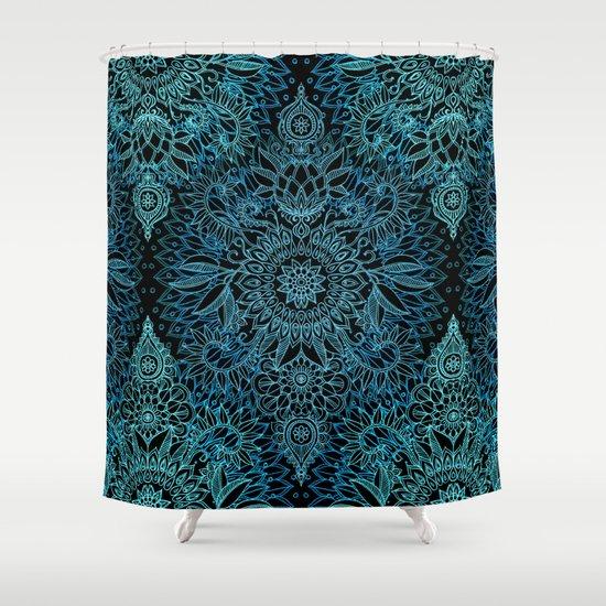 Black Amp Aqua Protea Doodle Pattern Shower Curtain By