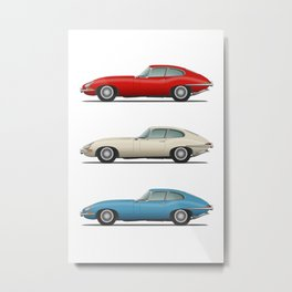 Jaguar E Type Fixed Head Coupe Red White and Blue Metal Print
