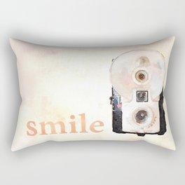Retro Watercolor Camera SMILE! Rectangular Pillow