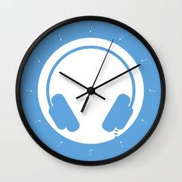 Symbol: Headphones white on blue Wall Clock
