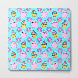 Cute funny Kawaii chibi pink little playful baby bunnies, happy sweet donuts and adorable colorful yummy cupcakes light bright pastel blue seamless pattern design. Metal Print