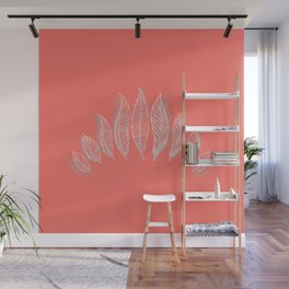 Living Coral Boho Feathers Wall Mural