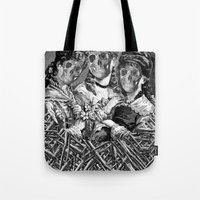 sister Tote Bags featuring SISTER  by DIVIDUS DESIGN STUDIO