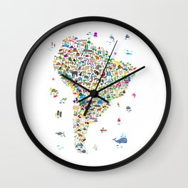 Animal Map of South America for children and kids Wall Clock