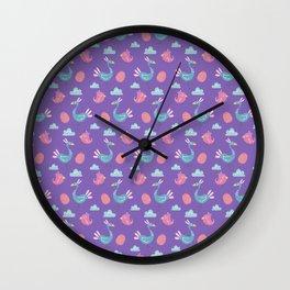 Modern green pink violet hand drawn birds pattern Wall Clock