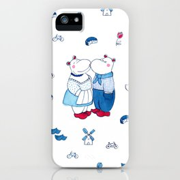 Adorable Dutch hippos in Delft blue style iPhone Case