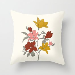 Colorful Minimal Line Art Magnolia Throw Pillow