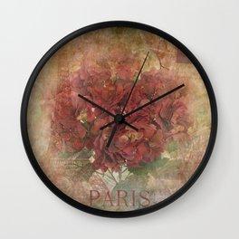 Vintage Red Hydrangea Flowers In Paris Wall Clock