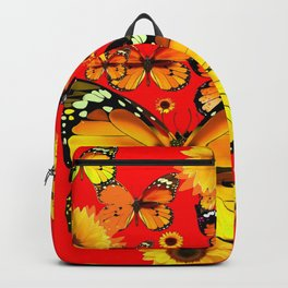 CHINESE RED YELLOW SUNFLOWERS &  BUTTERFLIES ART Backpack