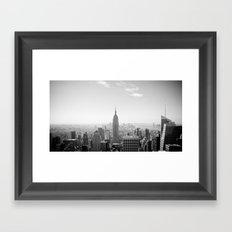 Manhattan - Empire State Building Panorama | B/W Framed Art Print