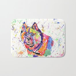 Akita in a spectrum of colour Bath Mat